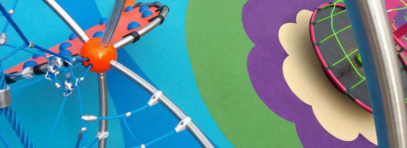Colourful playground rubber flooring.