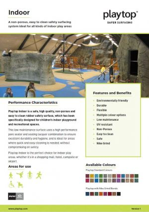 Screenshot of Playtop Indoor with Nike Grind Information Sheet.