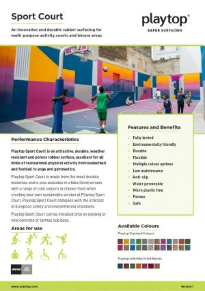 Screenshot of the Playtop Sports Court flooring information leaflet.
